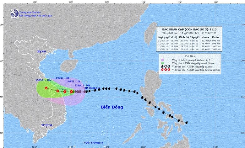 Dự báo hướng đi của bão số 5 (Ảnh: Trung tâm dự báo khí tượng thủy văn Quốc gia)