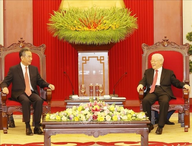 Tổng Bí thư Nguyễn Phú Trọng tiếp đồng chí Vương Nghị, Ủy viên Quốc vụ, Bộ trưởng Bộ Ngoại giao Trung Quốc Vương Nghị