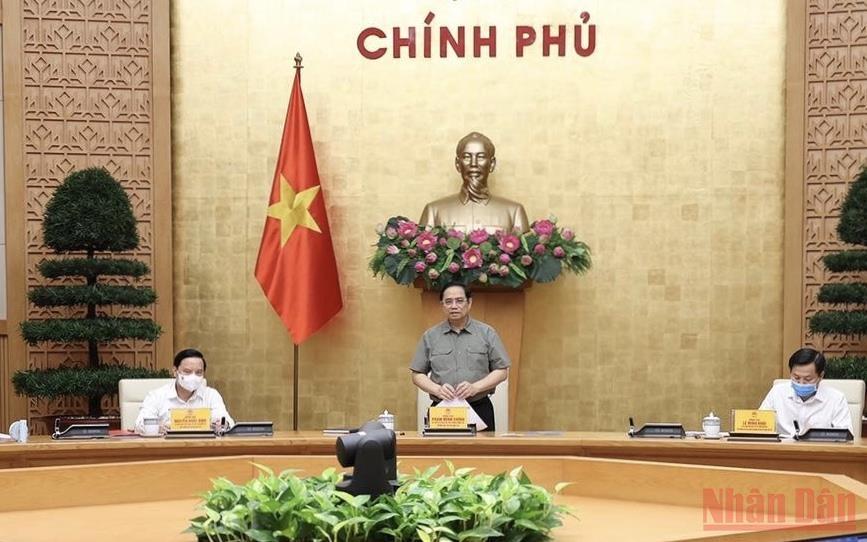 Thủ tướng Phạm Minh Chính phát biểu tại cuộc họp. (Ảnh: TRẦN HẢI).