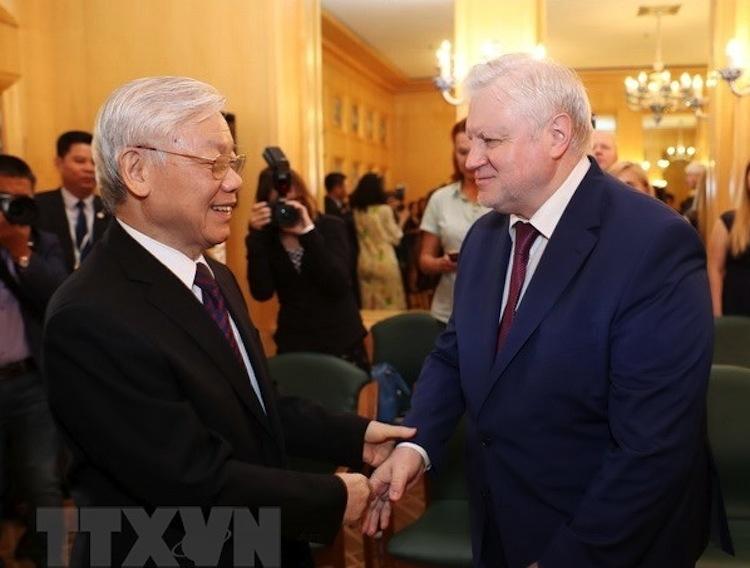 Tổng Bí thư Nguyễn Phú Trọng tiếp Chủ tịch Đảng nước Nga Công bằng S.M.Mironov, trong chuyến thăm Liên bang Nga, tháng 9/2018. (Ảnh: TTXVN)