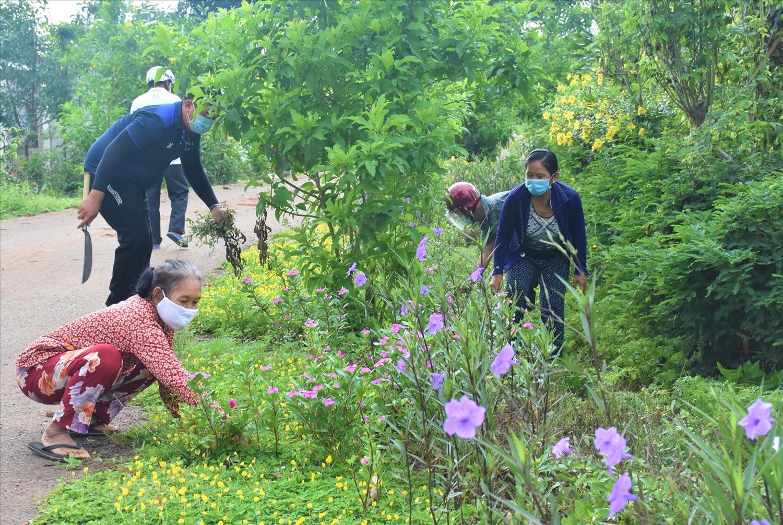 Cán bộ ấp Tân Thuận (xã Long Tân, huyện Đất Đỏ) cùng bà con chung tay chăm sóc hoa trên các tuyến đường vào ấp - (Ảnh được chụp trước thời gian giãn cách xã hội)
