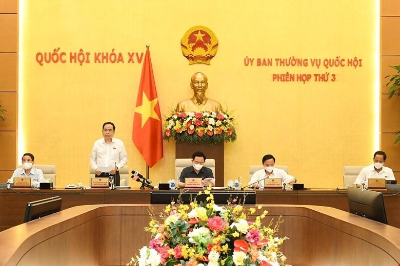 Phó Chủ tịch Thường trực Quốc hội Trần Thanh Mẫn phát biểu tai phiên họp. (Ảnh: QH)