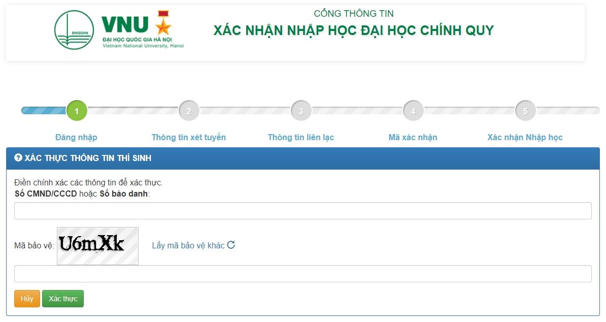 Hướng dẫn xác nhận nhập học trực tuyến và nhập học trực tuyến vào Đại học Quốc gia Hà Nội 1