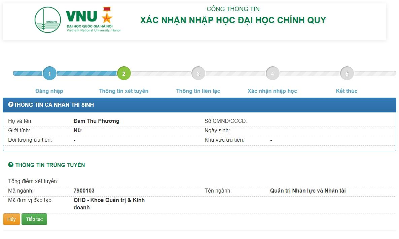 Hướng dẫn xác nhận nhập học trực tuyến và nhập học trực tuyến vào Đại học Quốc gia Hà Nội 2