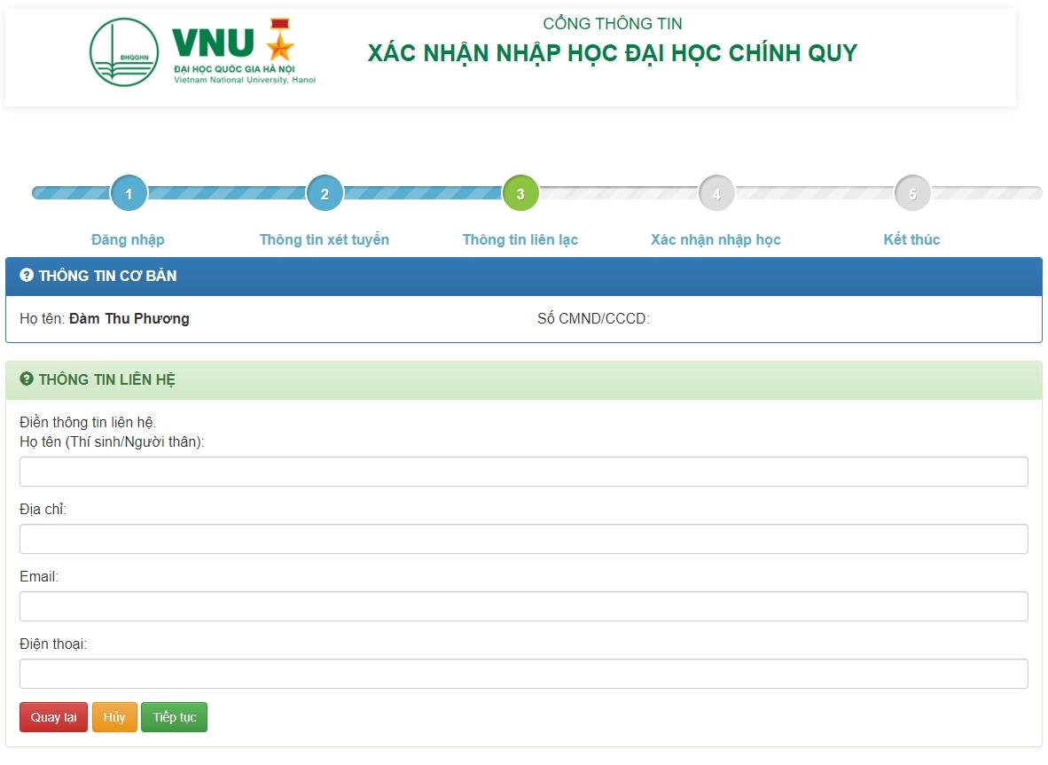 Hướng dẫn xác nhận nhập học trực tuyến và nhập học trực tuyến vào Đại học Quốc gia Hà Nội 3