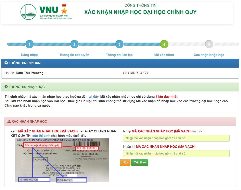 Hướng dẫn xác nhận nhập học trực tuyến và nhập học trực tuyến vào Đại học Quốc gia Hà Nội 4