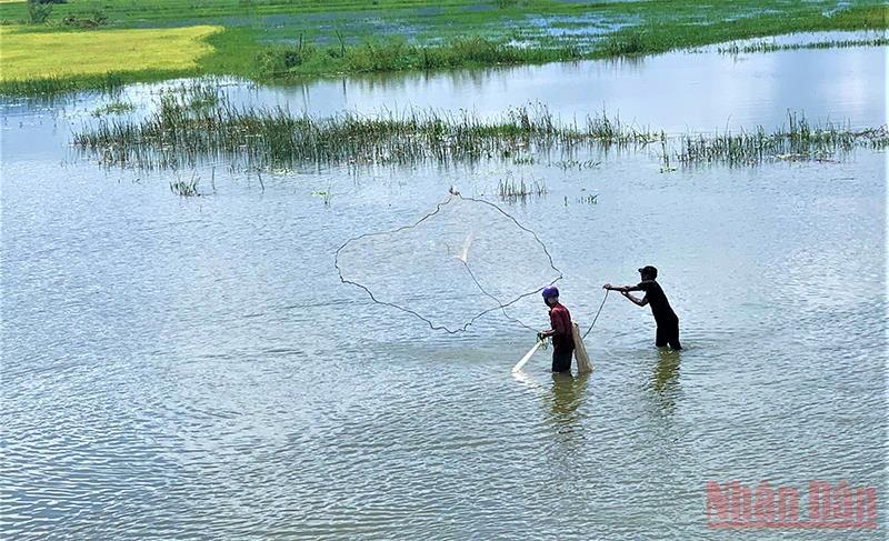 Nhiều hộ đồng bào dân tộc thiểu số sinh sống bên hồ Lắk còn khai thác nguồn thủy sản trong lòng hồ để phục vụ cuộc sống hằng ngày