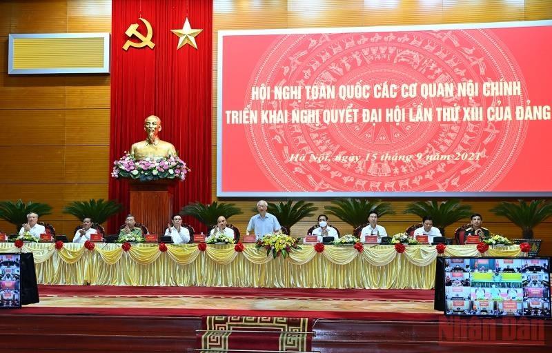 Tổng Bí thư Nguyễn Phú Trọng chủ trì hội nghị. (Ảnh: Đăng Khoa)