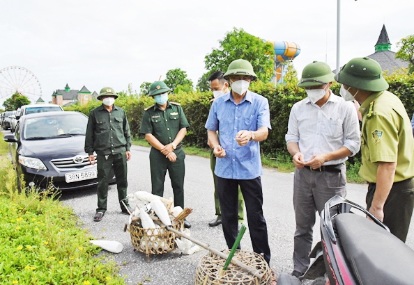 Chim mồi và các dụng cụ đánh bắt chim di cư bị lực lượng Kiểm lâm Lộc Hà thu giữ