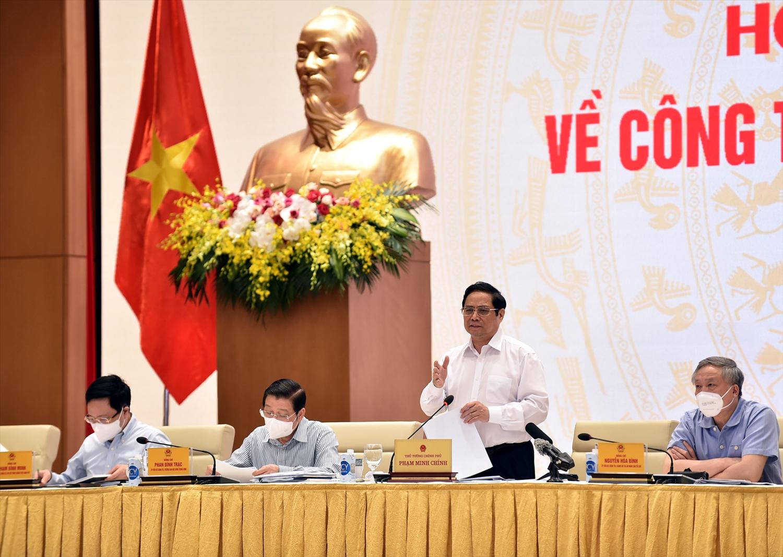 """Thủ tướng Phạm Minh Chính: Xây dựng và hoàn thiện thể chế để bảo đảm thực sự là """"đòn bẩy"""" kiến tạo phát triển, tạo động lực phát triển, phát huy các nguồn lực. - Ảnh: VGP/Nhật Bắc"""