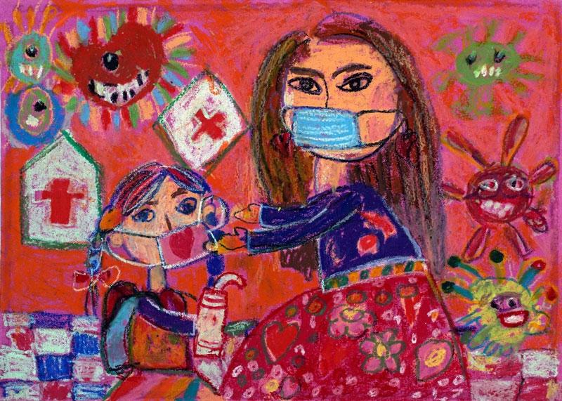 Một tác phẩm tham gia triển lãm Giải thưởng Mỹ thuật thiếu nhi Việt Nam 2021.