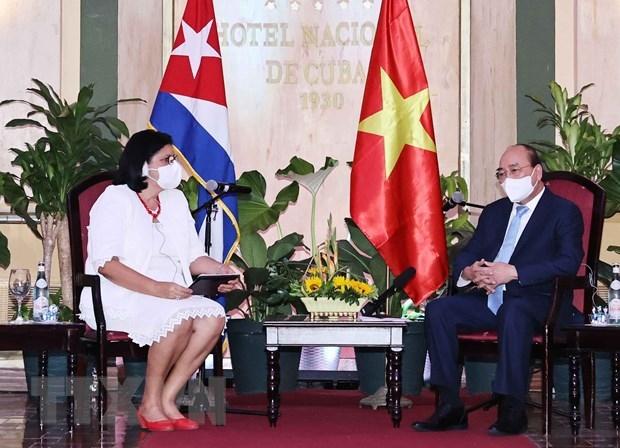 Chủ tịch nước Nguyễn Xuân Phúc tiếp Phó Chủ tịch thứ nhất Viện Cuba hữu nghị với các dân tộc (ICAP) Noemi Rabaza Fernandesz. (Ảnh: Thống Nhất/TTXVN)