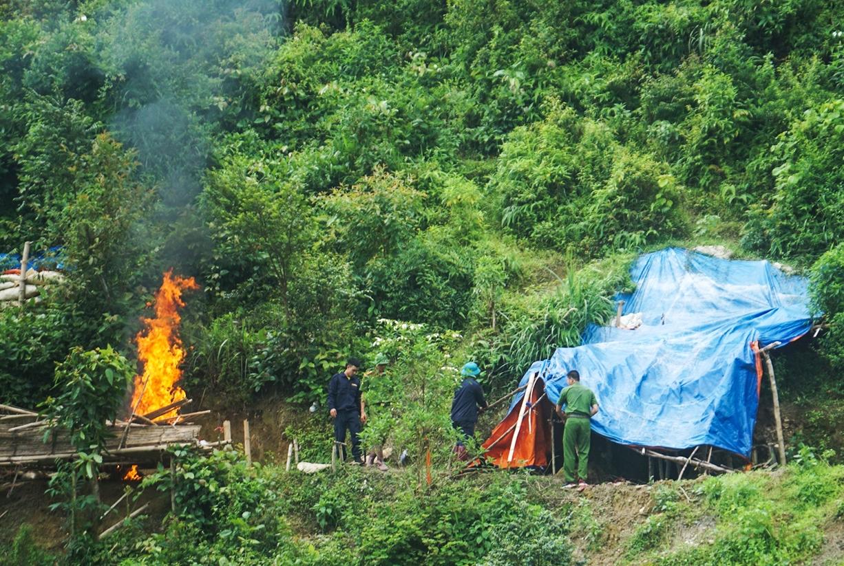 Lực lượng chức năng truy quét, phá dỡ các lán trại được dựng trái phép