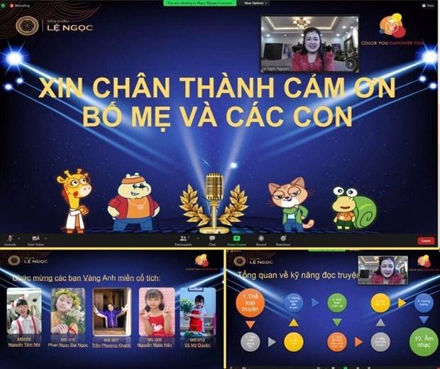 """Nghệ sỹ nhân dân Lệ Ngọc làm """"quản trò"""" trong các sân chơi trực tuyến cho thiếu nhi. (Ảnh chụp màn hình)"""
