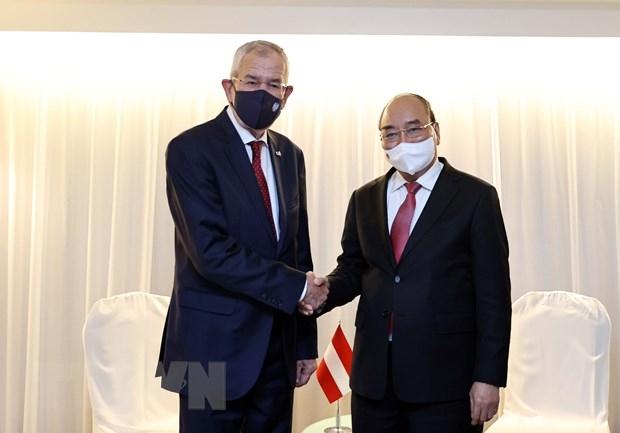 Chủ tịch nước Nguyễn Xuân Phúc gặp Tổng thống Áo Alexander Van der Bellen. (Ảnh: Thống Nhất/TTXVN)