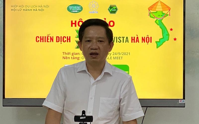 Chủ tịch Hội Lữ hành Hà Nội Phùng Quang Thắng phát biểu tại Hội thảo. (Ảnh: Tiến Dũng)