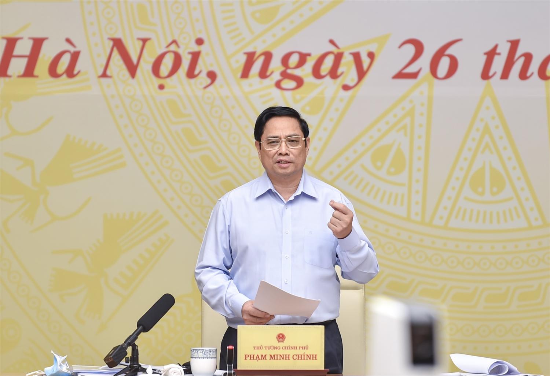 """Thủ tướng Phạm Minh Chính nhấn mạnh quan điểm """"nghĩ thật, nói thật, làm thật, hiệu quả thật, nhân dân và doanh nghiệp được thụ hưởng thật"""" - Ảnh: VGP/Nhật Bắc"""