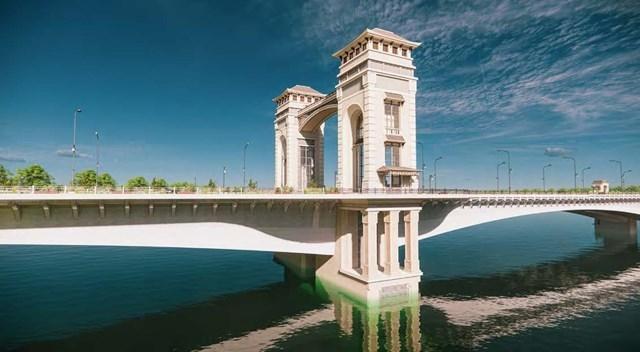 Cầu Trần Hưng Đạo được xây dựng với phương án kiến trúc mang phong cách Đông Dương. Ảnh: BQLDA