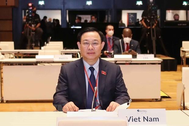 Chủ tịch Quốc hội Vương Đình Huệ dự Lễ khai mạc Hội nghị các Chủ tịch Quốc hội thế giới lần thứ 5. (Ảnh: Doãn Tấn/TTXVN)