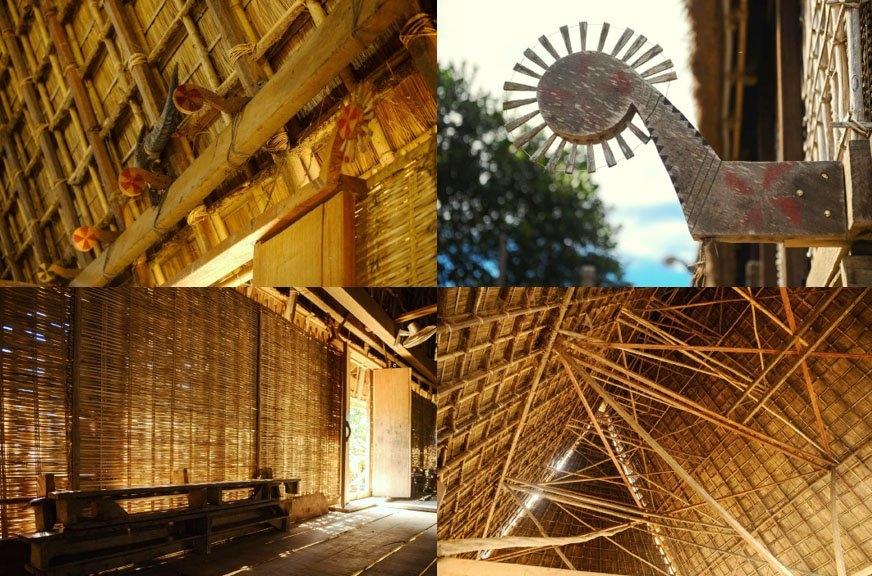 Những phên nứa, những vật trang trí, những hoa văn của nhà rông mới được dựng lại theo đúng nguyên mẫu nhà rông cũ.