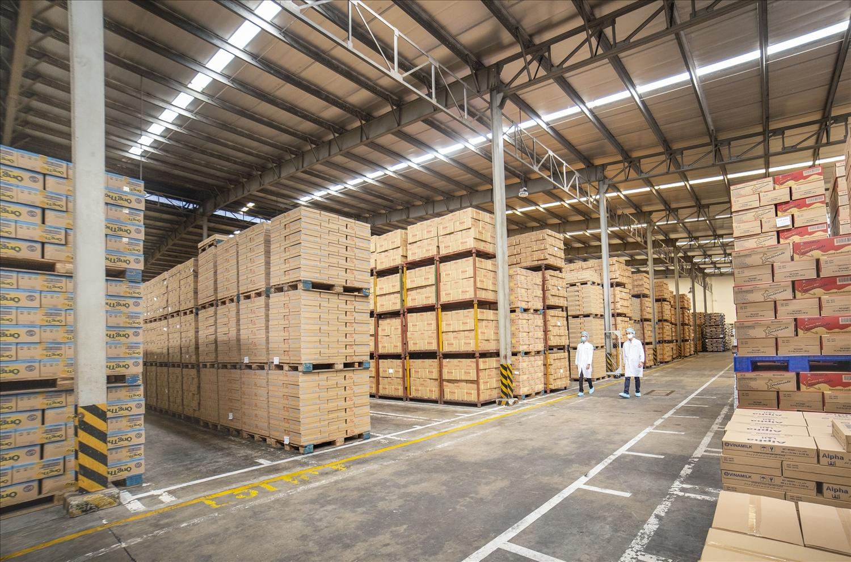 Kho thành phẩm trong một nhà máy của Vinamilk, tồn kho linh hoạt đảm bảo cung ứng trong nước và cả xuất khẩu theo diễn biến của Covid-19