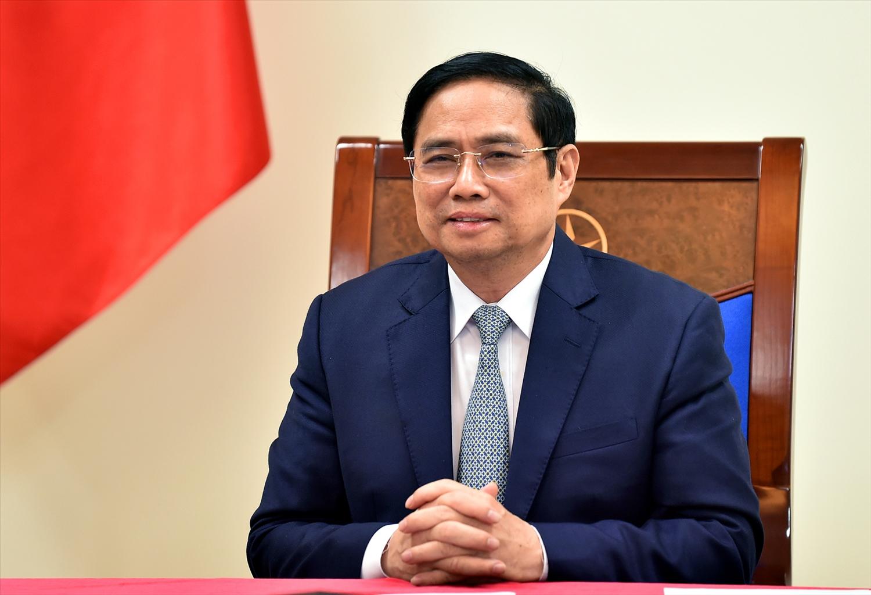 Thủ tướng Phạm Minh Chính khẳng định: Dù quá trình chuyển đổi kinh tế xanh còn gặp nhiều khó khăn sau nhiều năm trải qua chiến tranh, Việt Nam tiếp tục cam kết mạnh mẽ ứng phó với biến đổi khí hậu. Ảnh VGP/Nhật Bắc