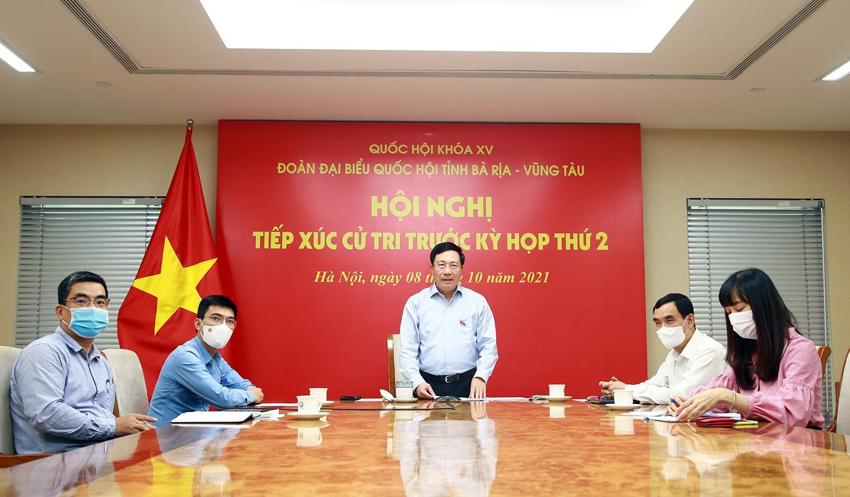 Phó Thủ tướng Phạm Bình Minh tiếp xúc cử tri tại tỉnh Bà Rịa - Vũng Tàu theo hình thức trực tuyến - Ảnh: VGP/Hải Minh