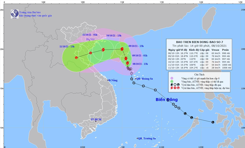 Vị trí và đường đi của bão số 7. Ảnh: KTTV