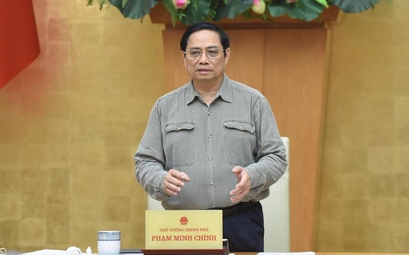 Thủ tướng Phạm Minh Chính phát biểu ý kiến tại cuộc họp.