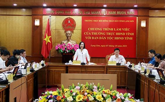 Ủy viên Ban Thường vụ Tỉnh ủy, Chủ tịch HĐND tỉnh Lạng Sơn Đoàn Thị Hậu phát biểu tại buổi làm việc