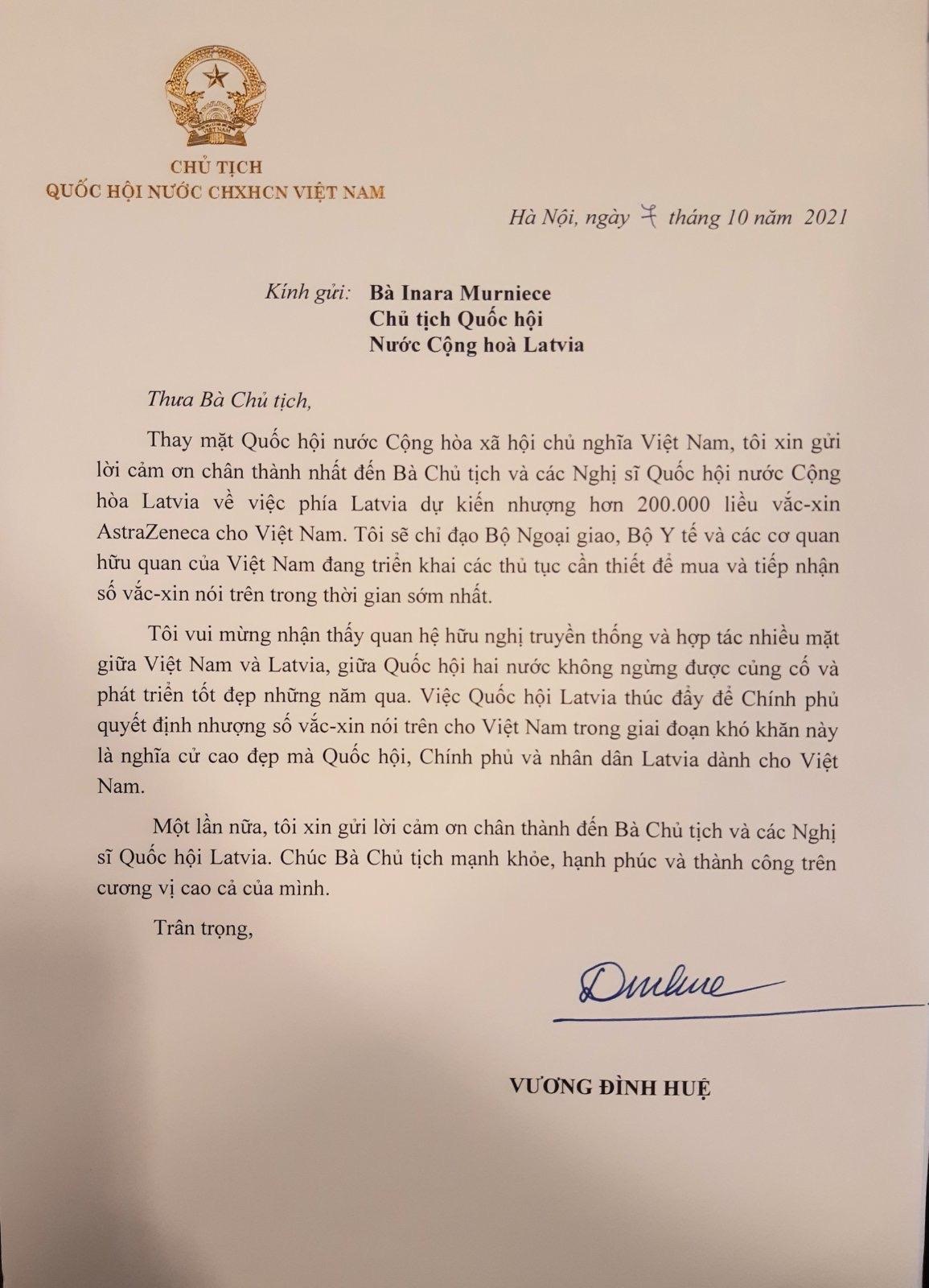 Thư cảm ơn của Chủ tịch Quốc hội Vương Đình Huệ gửi Chủ tịch Quốc hội Cộng hoà Latvia Inara Murniece. Ảnh:VGP/Nguyễn Hoàng