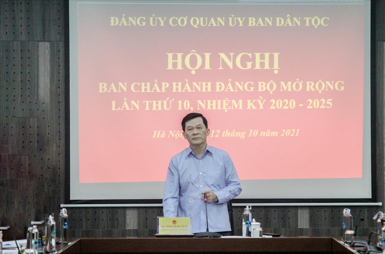 Đồng chí Nông Quốc Tuấn, Phó Bí thư Ban Cán sự Đảng, Bí thư Đảng ủy, Thứ trưởng, Phó Chủ nhiệm UBDT chủ trì Hội nghị