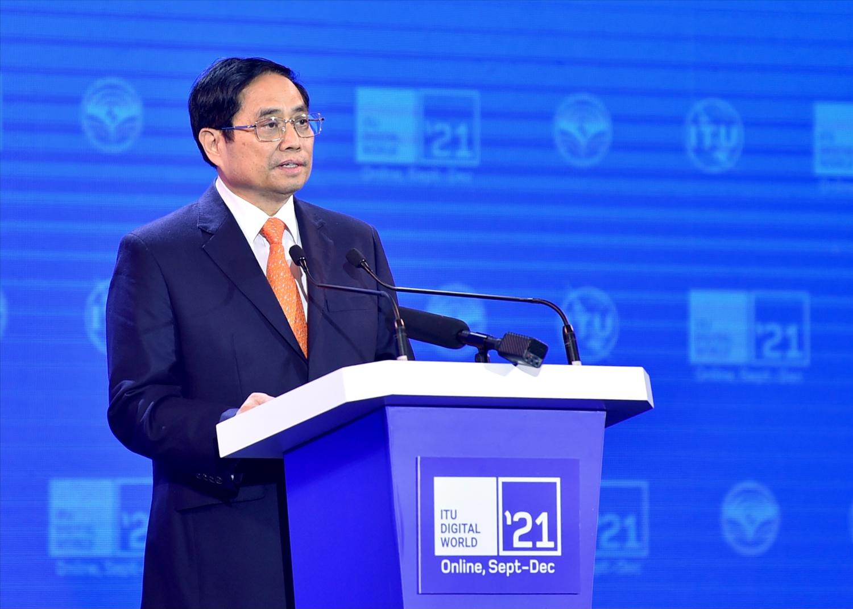 Thủ tướng Phạm Minh Chính: Chính phủ Việt Nam coi hạ tầng số, hạ tầng dữ liệu, các nền tảng số quốc gia là yếu tố then chốt và đang nỗ lực tăng tốc lộ trình chuyển đổi số quốc gia. Ảnh: VGP/Nhật Bắc