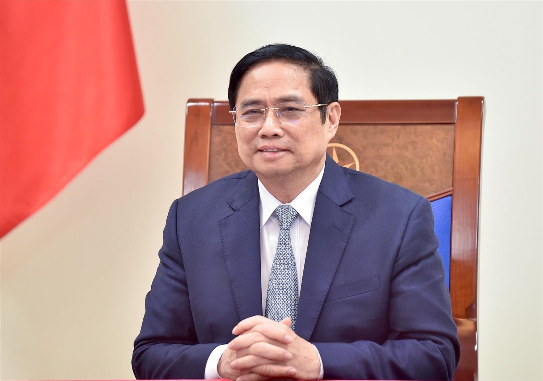 Thủ tướng Chính phủ Phạm Minh Chính cảm ơn Chính phủ Thổ Nhĩ Kỳ đã quyết định hỗ trợ Việt Nam vaccine phòng COVID-19 và trang thiết bị y tế. Ảnh VGP/Nhật Bắc