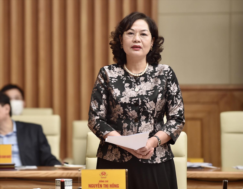 Thống đốc Ngân hàng Nhà nước Việt Nam Nguyễn Thị Hồng: Ngân hàng Nhà nước có sứ mệnh, nhiệm vụ quan trọng trong việc giữ ổn định kinh tế vĩ mô, tạo chủ động cho các doanh nghiệp thiết kế kế hoạch sản xuất kinh doanh. Ảnh: VGP/Nhật Bắc