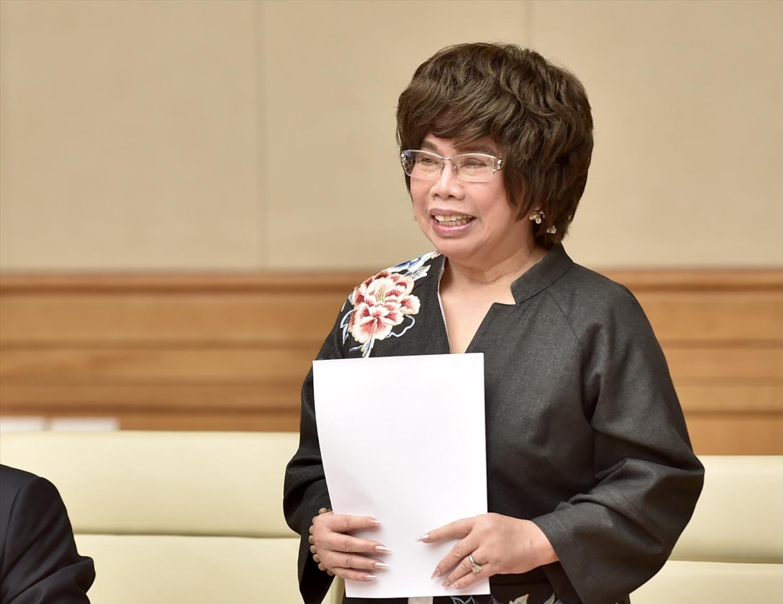 Bà Thái Hương, Chủ tịch Hiệp hội Nữ doanh nhân Việt Nam, cho rằng mục tiêu tăng trưởng GDP cuối năm 3% là khả thi. Ảnh: VGP/Nhật Bắc