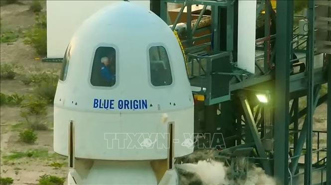 Tàu vũ trụ New Shepard của công ty Blue Origin tại Van Horn, Texas, Mỹ. Ảnh tư liệu: AFP/TTXVN