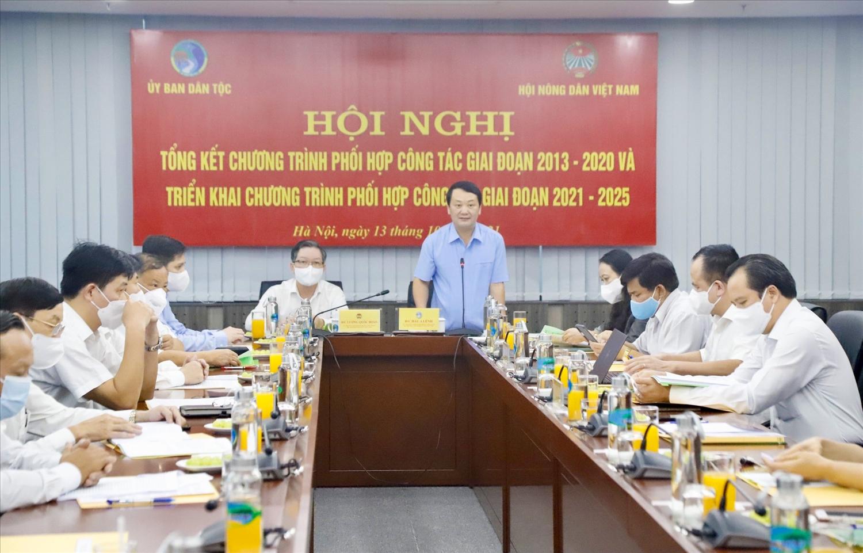Bộ trưởng, Chủ nhiệm UBDT Hầu A Lềnh phát biểu tại Hội nghị