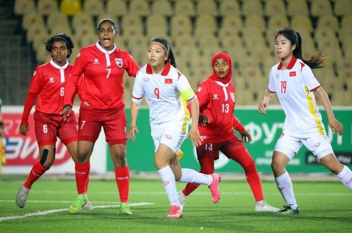 Đội tuyển nữ Việt Nam thắng đội tuyển Maldives 16 – 0 ở vòng loại Asian Cup nữ 2022. Ảnh minh họa