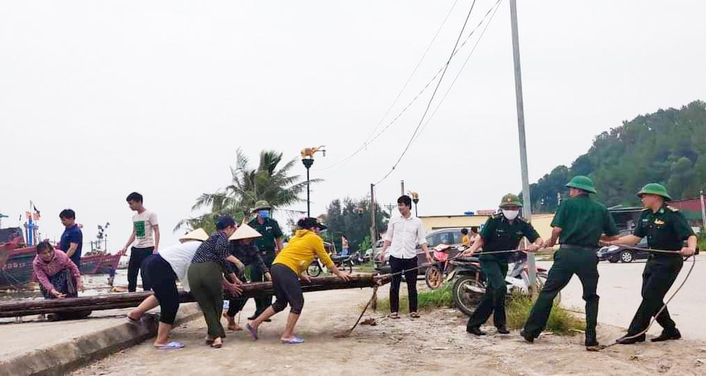 Bộ đội biên phòng Thanh Hóa giúp dân thu hoạch lúa tránh bão 5