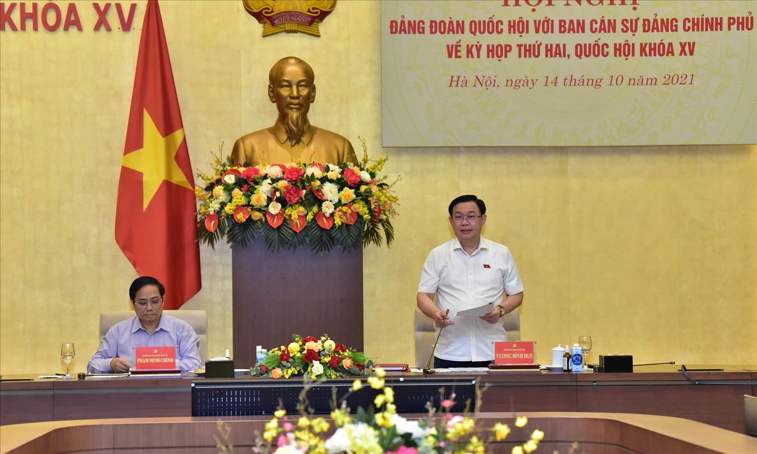 Chủ tịch Quốc hội Vương Đình Huệ nhấn mạnh: Tất cả các công việc chuẩn bị cho kỳ họp thứ 2 đến nay đã hoàn tất với sự đồng thuận, thống nhất rất cao. Ảnh: VGP/Thành Chung