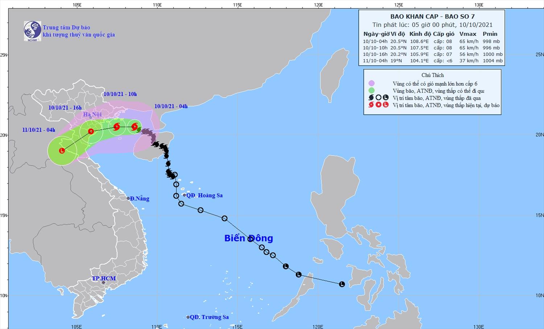Cường độ và hướng di chuyển của bão số 7 - Ảnh: Trung tâm Dự báo khí tượng thủy văn quốc gia